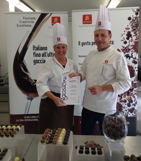 Master Chocolatiers Program in Italy, Jennifer receiving her certificate.